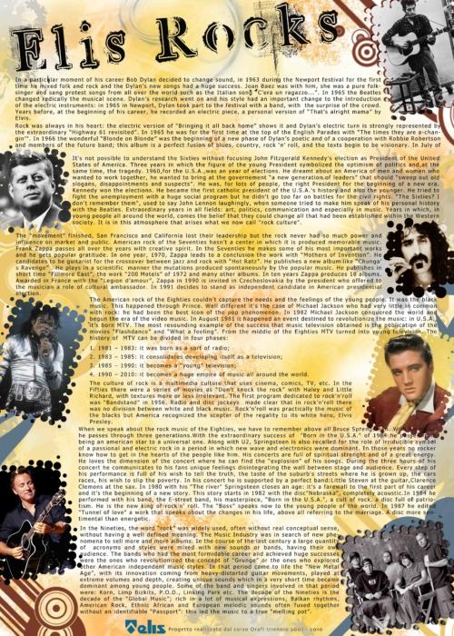 Poster in cui si vedono: il logo della scuola Elis, il racconto del progetto e le foto dei performer citati - Bob Dylan, Frank Zappa, Michael Jackson, Elvis, Bruce Springsteen.