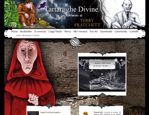 Homepage del sito web dedicato al romanzo Tartarughe Divine in cui si vede un header dinamico, un menu con breadcrumbs, un assaggio del romanzo, un book trailer e un accesso all'area di downolad.